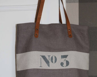 Bag Tote in linen color taupe/linen tote/shopping tote/purse hand/tote bag