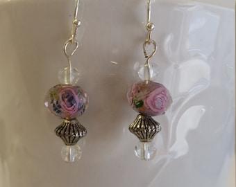 round pink rose dangle