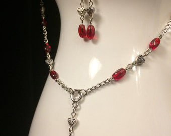 Celtic Hearts Beaded Chain and Earrings