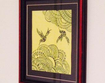Humming Birds / Bright Yellow/ Black Zentangles