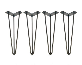 Hairpin Legs Set of 4, RAW STEEL, Hairpin, Hairpin Table Legs, Desk Legs, Mid Century Modern, Modern Coffee Table, Furniture Leg, Metal Leg
