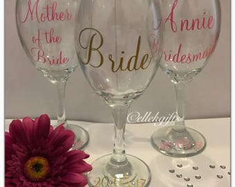 Personalised Bridesmaid Decorated Wine Glass Gift