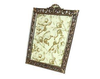 ORNATE 8X10 FRAME Vintage Metal Frame Table Top Picture Frame Standing Brushed Brass Photo Frame