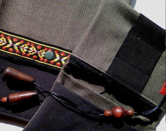 Pipe tobacco bag, bag for tobacco and pipe Black Brown