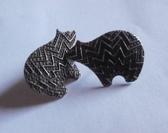 """Vintage sterling silver fine southwestern native large polar bear earrings 1"""" x 3/4"""""""