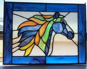Custom Stained Glass Horse Available to order