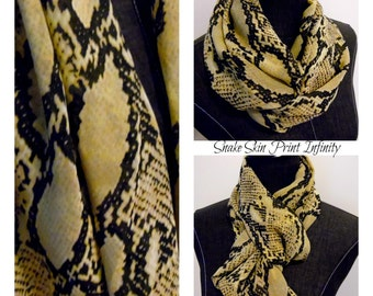INFINITY SCARF.Scarves.Circle Scarf.Tube Scarf.Semi Sheer.Fashion wear.Office Wear.Snake Print.Fall.Winter.Autumn Fashion.Product ID# SC0084