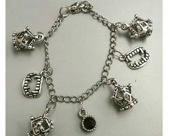 Countess Elizabeth inspired charm bracelet, vampire bracelet, Elizabeth Bathory jewelry, vampire jewelry, countess elizabeth jewelry