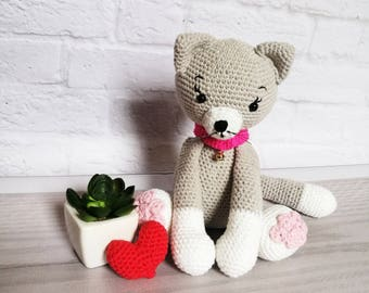 Crochet cat| Soft cotton toy for kids | Stuffed animal | Newborn gift | Amigurumi | Newborn photo prop | Gift for kids