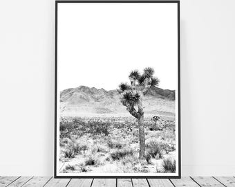 Joshua Tree Print, Desert Wall Art, Bohemian Decor, Digital Download, Printable Art, Californian Desert Photography, Black and White Print