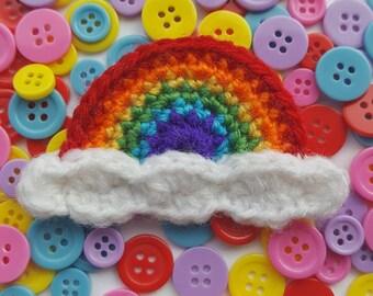 Crochet rainbow brooch // Rainbow // Bright // Kawaii