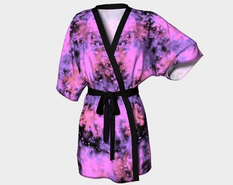 Kimono Robe in purple, pink and black, wedding robe, bridal robe, bridesmaid robe, luxury robe, robe, silky robe, purple and pink robe