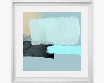 Modern Pale Blue Abstract Art Print - Simple Expressive Design, Beige & Blue, Square Style Wall Art, Fine Art Prints, Professional Artist