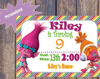 Rainbow Trolls Birthday Invitation