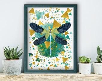 Emerald Prism, poster, print, prints, artwork, premium print, wall art, dragonfly, dragonfly