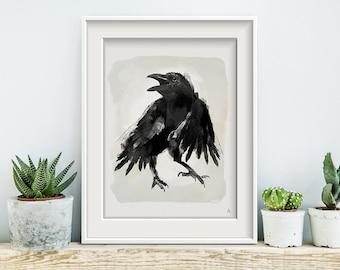 Raven, poster, print, prints, artwork, premium print, wall art, owl, spring, Crow
