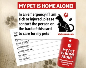 Home Alone Pet Safety Card and Fob Key Ring Set, keyring fob by Shake Paws