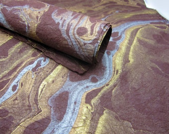 Marble Paper, Brown Metallic Copper Gold Silver, Handmade Sheet, Gift Wrap, Collage, Scrapbooking, A2 440mm x 600mm