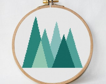 Geometric Forest Cross Stitch Pattern Geometric Mountains Geometric Scandinavian Woodland cross stitch Modern cross stitch Mid Century