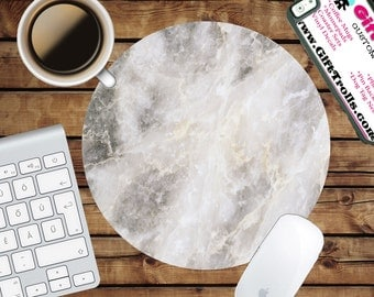 White Marble Print Circle Mouse Pad - Mousepad - CoWorker Teacher Gift