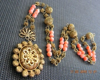 Tambourine Jewelry Set Ring Necklace  Antique Coral Museum Quality Patina