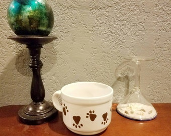 Handpainted Puppy DOG PAW PRINTS mug