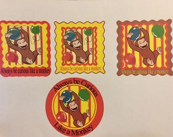 Curious George Stickers/ party favors/kids stickers