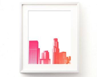 LA girls room wall art, Los Angeles print, baby nursery printable, California style, summer print, tropical colors, LA skyline