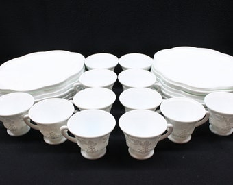 Vintage Indiana White Milk Glass  Luncheon Cup and Plate Set. Grapes and Grape Leaves Design; 12 Place Settings
