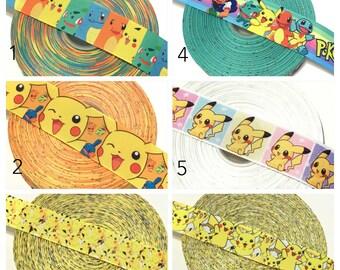 Pokemon Ribbon, Pikachu Grosgrain Ribbon, Pokemon Grosgrain Ribbon by the yard, Pikachu Ribbon
