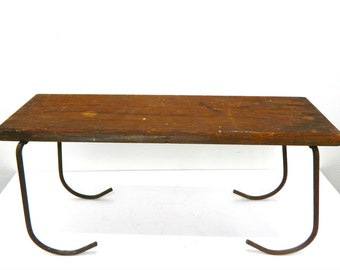 Antique Primitive Wooden Booster Seat...Folding Bench...Wood Seat and Metal Legs...Unique Bench...Shelf...Rustic