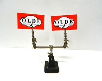 Vintage Lab Stand...Metal Lab Stand with Weighted Iron Base...Chemistry Slide Holder Stand...Recipe / Card Holder Display