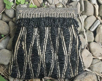 Black Beaded Clutch/Purse From The 1930's with floral clasp/evening clutch/beaded clutch/purse/antique clutch/30s clutch