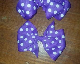 Purple Polka-dot Bow