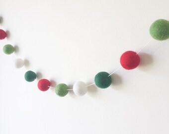 Christmas Felt Ball Garland - 2 Meters - Christmas Decorations