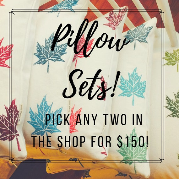 Pillow sets, accent pillows, organic canvas, hand printed, cutom made, two pillows, mix and match, throw pillows, sofa pillows, patio pillow
