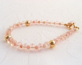 Rose Quartz and pink Opal gold-plated bracelet, goldfilled, pink gemstone bracelet
