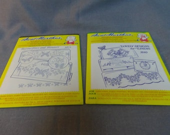 Embroidery Patterns, Iron On Transfers for Linen, Aunt Martha 3752 3188, Floral and Colonial Girls