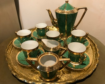 Art Deco green and gold porcelain coffee set
