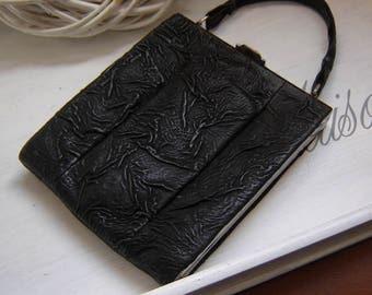 Original 20s leather bag - with chrome and thick leather in black - top!