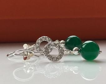 Green Agate Earrings -Agate Earrings -Silver Earrings -Green Earrings -Semi-Precious Stone -Beaded Earrings -Gift for Her -Handmade -UK Shop