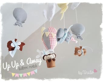 Up Up & Away Baby Mobile - Cot Mobile - Crib Mobile - Hot Air Balloon Mobile - Animal Mobile - hanging mobile - fox - cat - bear - rabbit