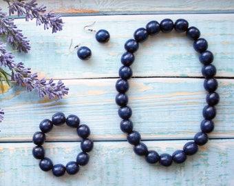 Dark Blue Necklace set, Blue Wooden Bead necklace, Deep navy blue necklace, dark blue necklace, wedding necklace, trending jewelry