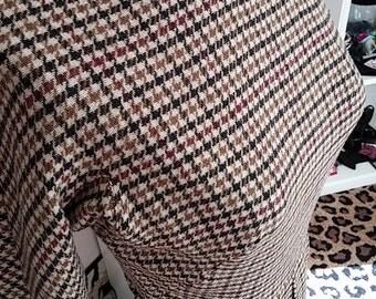 Clean, Vintage, 1960's, Sophisticates, Soft Wool, Herringbone, Plaid, Brown, Rust, Gold, Ivory, Dolman, Long Sleeve, Dress