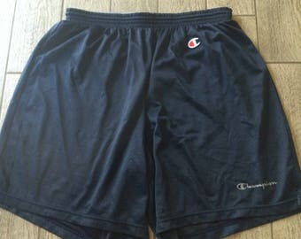 Vintage Champion Shorts Navy Blue Mesh Breathable With Logos Size L(32)