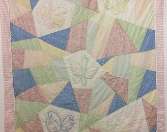 Baby quilt little girls quilt butterfly pastel colors