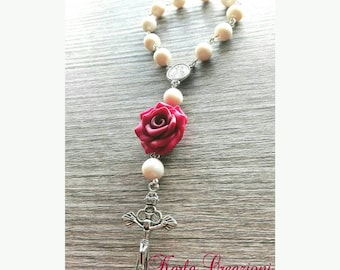 Pearl Rosary with red rose