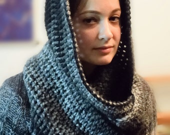 Hooded, Crocheted Infinity Scarf