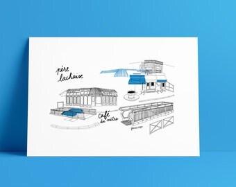 Illustration Metro of Paris : Père Lachaise Line 2 - Poster A3