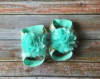 Mint Barefoot Sandals, Baby Barefoot Sandals,Aqua Barefoot Sandals, Baby Sandals, Newborn Sandals, Newborn Shoe, Baby Girl Shoes, Baby Shoes